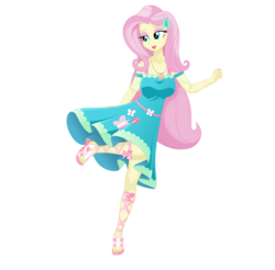 Size: 5000x4923 | Tagged: safe, artist:silvertongue, fluttershy, equestria girls, equestria girls series, adorasexy, beautiful, beautisexy, breasts, busty fluttershy, clothes, cute, dress, feet, flowing hair, geode of fauna, graceful, lidded eyes, magical geodes, majestic, nail polish, open mouth, raised leg, sandals, schrödinger's pantsu, sexy, shyabetes, simple background, solo, standing, standing on one leg, toenail polish, toenails, toes, transparent background