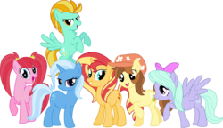 Size: 3220x1849 | Tagged: alternate mane six, alternate universe, artist:negaboss2000, flitter, lightning dust, oc, oc:pear blossom, pacific glow, pear blossom, safe, sunset shimmer, trixie