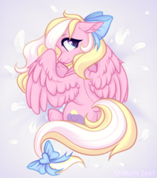 Size: 1804x2044 | Tagged: safe, artist:sparkling_light, oc, oc only, oc:bay breeze, pegasus, pony, bow, cute, dock, female, hair bow, looking at you, looking back, looking back at you, mare, simple background, solo, tail bow