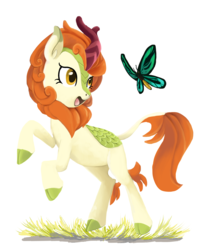Size: 1309x1600 | Tagged: artist:nightmare fuel, autumn blaze, bipedal, birdwing butterfly, butterfly, derpibooru exclusive, female, grass, happy, insect, kirin, looking at something, safe, simple background, smiling, solo, sounds of silence, white background