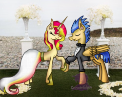 Size: 680x545 | Tagged: artist:commandereclipse, female, flashimmer, flash sentry, male, marriage, safe, shipping, straight, sunset shimmer, wedding