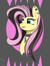 Size: 2401x3157 | Tagged: alternate hairstyle, annoyed, artist:wilshirewolf, bust, ear piercing, earring, edgy, emoshy, fake it 'til you make it, fluttershy, goth, jewelry, pegasus, piercing, pony, portrait, safe, solo, tongue out, tongue piercing