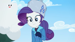 Size: 1920x1080   Tagged: safe, screencap, rarity, equestria girls, holidays unwrapped, saving pinkie's pie, spoiler:eqg series (season 2), cute, female, nice hat, plusplus, solo, winter, winter outfit