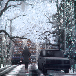 Size: 512x512 | Tagged: 3d, album cover, anthro, anthro oc, artist:clar3, building, car, derpibooru exclusive, female, oc, oc:paradox, safe, snow, snowfall, solo, source filmmaker, soviet, street, tree