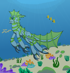 Size: 2089x2191 | Tagged: safe, artist:derpanater, oc, oc only, oc:azure dice, fish, original species, claws, commission, fins, ocean, swimming, underwater