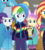 Size: 524x583 | Tagged: safe, screencap, fluttershy, rainbow dash, rarity, sunset shimmer, owl, equestria girls, equestria girls series, holidays unwrapped, spoiler:eqg series (season 2), bunny ears, chad (owl), cropped, female, plusplus, winter break-in, winter outfit