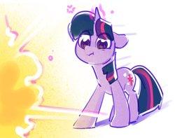 Size: 989x779 | Tagged: safe, artist:dawnfire, twilight sparkle, pony, unicorn, :i, explosion, female, magic, mare, solo, unicorn twilight