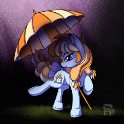 Size: 3500x3500 | Tagged: safe, artist:calena, oc, oc only, oc:aurelia coe, pony, coe, dancing, dancing in the rain, grass, high res, looking at you, rain, ribbon, sassy, signature, simple background, smiley face, solo, umbrella