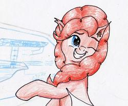 Size: 1596x1322 | Tagged: safe, artist:40kponyguy, derpibooru exclusive, pinkie pie, earth pony, pony, ear fluff, female, grin, looking back, one eye closed, schematics, smiling, solo, star trek, star trek (tos), traditional art, wip