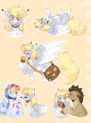 Size: 981x1324 | Tagged: safe, artist:wanderingpegasus, derpy hooves, doctor whooves, rainbow dash, time turner, earth pony, pegasus, pony, abstract background, blushing, chest fluff, clothes, cute, dashabetes, derpabetes, doctorderpy, female, food, happy, mailbag, male, mare, mouth hold, muffin, scarf, shipping, smiling, stallion, straight, tongue out