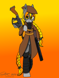 Size: 1920x2560 | Tagged: armor, artist:derpanater, braid, braided ponytail, braided tail, clothes, earth pony, fallout equestria, female, gun, looking at you, oc, oc only, oc:rook, pony, safe, semi-anthro, shotgun, simple background, standing on hindlegs, weapon