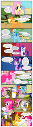 Size: 612x2312 | Tagged: angry, applejack, artist:newbiespud, background pony, balloon, cheese sandwich, comic, comic:friendship is dragons, crossed arms, dialogue, earth pony, edited screencap, female, fez, filly, fluttershy, gilda, griffon, grin, hat, hippopotamus, jumping, mane six, mare, party tank, pegasus, piña colada, pinkie pie, pinkie pride, pony, rainbow dash, rarity, running, safe, screencap, screencap comic, sigh, smiling, sunburst background, tank (vehicle), twilight sparkle, unicorn, unicorn twilight