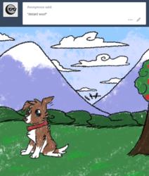 Size: 600x708 | Tagged: safe, artist:askwinonadog, winona, dog, ask winona, ask, mountain, solo, tumblr