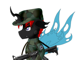 Size: 2400x1900 | Tagged: army, artist:midnightfire1222, changeling, clothes, commission, gun, m-4 carbine, oc, oc:lance, pony, safe, solo, uniform, weapon