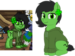 Size: 1573x1181 | Tagged: artist:smoldix, clothes, ear fluff, ear piercing, earring, earth pony, female, filly, hoodie, jewelry, looking at you, oc, oc:filly anon, oc only, piercing, pixel art, pixelated, pony, pony town, question mark, safe, short tail, simple background, sitting, smiling, transparent background