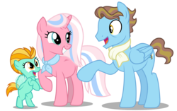 Size: 8755x5500   Tagged: safe, artist:warriorflashfire, clear sky, lightning dust, wind rider, pegasus, pony, unicorn, blank flank, clearrider, clothes, cute, dustabetes, eye bag, female, filly, flapping wings, headcanon, male, mare, one hoof raised, parent:clear skies, parent:wind rider, pregnant, scarf, simple background, smiling, stallion, transparent background, wings