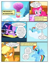 Size: 612x792 | Tagged: annoyed, applejack, arms behind head, artist:newbiespud, book, candy, canterlot, cloud, comic, comic:friendship is dragons, dialogue, dragon, earth pony, edited screencap, female, flying, food, grin, hat, hot air balloon, male, mare, on a cloud, on back, pegasus, pinkie pie, pony, rainbow dash, reading, relaxing, safe, screencap, screencap comic, sigh, smiling, spike, sun, twilight sparkle, unicorn, unicorn twilight