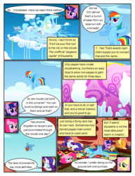 Size: 612x792 | Tagged: applejack, artist:newbiespud, book, bookcase, cloud, cloudsdale, comic, comic:friendship is dragons, dialogue, earth pony, edited screencap, face down ass up, faceplant, falling, female, filly, filly rainbow dash, fluttershy, flying, freckles, golden oaks library, hat, hot air balloon, mane six, mare, on a cloud, pegasus, pinkie pie, pony, rainbow dash, rarity, sad, safe, screencap, screencap comic, scroll, twilight sparkle, unicorn, unicorn twilight, younger