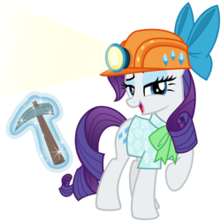 Size: 3200x3200 | Tagged: safe, artist:cheezedoodle96, rarity, pony, unicorn, dragon dropped, spoiler:s09e19, .svg available, bow, bowtie, clothes, female, helmet, looking at you, magic, magic aura, mare, mining helmet, necktie, open mouth, pickaxe, raised eyebrow, raised hoof, shirt, simple background, solo, svg, telekinesis, transparent background, vector