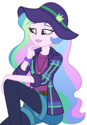Size: 2256x3238 | Tagged: safe, artist:sketchmcreations, princess celestia, equestria girls, equestria girls series, the road less scheduled, the road less scheduled: celestia, spoiler:choose your own ending (season 2), spoiler:eqg series (season 2), female, flannel, hand on chin, hat, music festival outfit, principal celestia, raised eyebrow, simple background, sitting, smiling, transparent background, vector