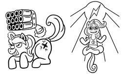 Size: 1695x1024   Tagged: safe, artist:wangkingfun, oc, oc:black eightball, pony, black and white, gun, lineart, monochrome, pony icon, shotgun, simple background, weapon, white background