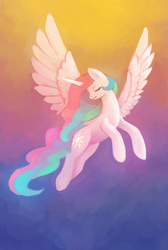 Size: 808x1200   Tagged: safe, artist:asimos, artist:maytee, princess celestia, alicorn, pony, eyes closed, female, flying, gradient background, mare, solo, spread wings, wings