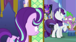 Size: 1280x720 | Tagged: dragon, dragon dropped, edit, edited screencap, female, jealous, love triangle, male, mare, pony, rarity, safe, screencap, shipping, sparity, sparlight, spike, spike's room, spoiler:s09e19, starlight glimmer, straight, the crystalling, unicorn, winged spike