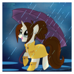Size: 1024x1024 | Tagged: safe, artist:kazziepones, oc, oc only, oc:hazel, pony, unicorn, ear piercing, female, glasses, hoof boots, mare, piercing, rain, raincoat, solo, umbrella