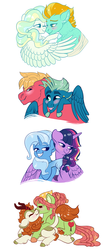 Size: 1500x3600 | Tagged: safe, artist:loryska, autumn blaze, big macintosh, lightning dust, sky stinger, tree hugger, trixie, twilight sparkle, vapor trail, alicorn, earth pony, kirin, pegasus, pony, unicorn, blushing, female, gay, lesbian, macstinger, male, mare, quadrupedal, shipping, stallion, treeblaze, twilight sparkle (alicorn), twixie, vapordust