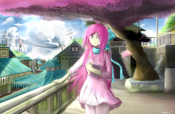 Size: 2460x1600 | Tagged: architecture, artist:lukesaurusflavius, book, bow, clothes, cloud, cloudy, dress, electric pole, hair bow, human, humanized, humanized oc, oc, oc only, safe, solo, town