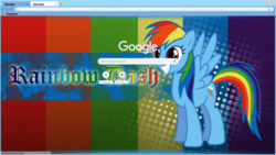 Size: 728x410 | Tagged: safe, rainbow dash, pony, google chrome, solo, theme