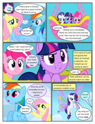 Size: 612x792 | Tagged: artificial wings, artist:newbiespud, augmented, cloud, comic, comic:friendship is dragons, confused, dialogue, earth pony, edited screencap, female, fluttershy, flying, grin, hot air balloon, lidded eyes, looking down, looking up, magic, magic wings, mare, pegasus, pinkie pie, pony, rainbow dash, raised hoof, rarity, safe, screencap, screencap comic, smiling, twilight sparkle, unicorn, unicorn twilight, wings