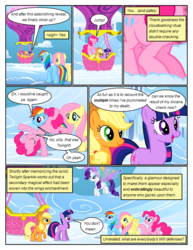 Size: 612x792 | Tagged: applejack, artificial wings, artist:newbiespud, augmented, cartwheel, cloud, comic, comic:friendship is dragons, dialogue, earth pony, edited screencap, eyes closed, female, fluttershy, flying, freckles, hat, hot air balloon, looking up, magic, magic wings, mane six, mare, pegasus, pinkie pie, pony, rainbow dash, raised hoof, rarity, safe, screencap, screencap comic, smiling, twilight sparkle, unicorn, unicorn twilight, wings