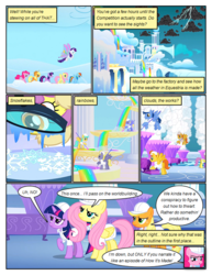 Size: 612x792 | Tagged: applejack, artist:newbiespud, background pony, blues, clothes, cloud, cloud break, cloudsdale, comic, comic:friendship is dragons, dialogue, earth pony, edited screencap, female, fluttershy, flying, freckles, frown, hard hat, lightning, looking up, magnifying glass, male, mane six, mare, noteworthy, parasol, pegasus, pinkie pie, pony, rainbow, rainbow dash, raised hoof, rarity, safe, screencap, screencap comic, snow, snowflake, sonic rainboom (episode), stallion, sunshower raindrops, thorn (character), twilight sparkle, unicorn, unicorn twilight, warm front, weather factory uniform