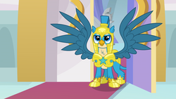 Size: 1920x1080 | Tagged: safe, screencap, gallus, griffon, the last problem, adult, armor, canterlot castle, good end, helmet, male, older gallus, royal guard, royal guard armor, royal guard gallus, smiling, soldier, solo, spread wings, wings