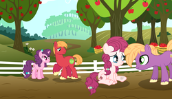 Size: 2256x1300 | Tagged: apple tree, artist:velveagicsentryyt, big macintosh, colt, earth pony, female, fence, filly, male, muffin macintosh, oc, oc:applie, offspring, older, parent:big macintosh, parents:sugarmac, parent:sugar belle, pony, safe, shipping, straight, sugar belle, sugarmac, tree, unnamed pony