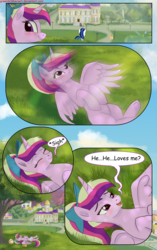 Size: 1950x3102 | Tagged: alicorn, artist:greenbrothersart, beach ball, blushing, comic, comic:love is magic, female, lidded eyes, male, on back, park, pony, princess cadance, saddle bag, safe, shining armor, sigh, teenager, teen princess cadance, tree, unicorn