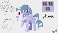 Size: 1920x1080 | Tagged: artist:cdv, artist:sweeteater, cutie mark, derpibooru exclusive, oc, oc:mimus, oc only, pony, reference sheet, safe, slime, solo