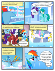 Size: 612x792   Tagged: safe, artist:newbiespud, edit, edited screencap, screencap, applejack, fluttershy, misty fly, pinkie pie, princess celestia, rainbow dash, rarity, soarin', spitfire, spring melody, sprinkle medley, twilight sparkle, wind rider, alicorn, earth pony, pegasus, pony, unicorn, comic:friendship is dragons, rarity investigates, background pony audience, clothes, cloud, comic, d:, dialogue, female, flying, goggles, grin, male, mane six, mare, on a cloud, open mouth, raised hoof, royal guard, screencap comic, sitting on cloud, smiling, stallion, surprised, unicorn twilight, uniform, wonderbolts, wonderbolts uniform, worried