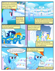 Size: 612x792 | Tagged: alicorn, armor, artist:newbiespud, background pony, background pony audience, cheering, clothes, cloud, cloud kicker, comic, comic:friendship is dragons, derpy hooves, dialogue, dizzy twister, edit, edited screencap, female, flying, frown, goggles, lightning bolt, looking up, male, mare, merry may, misty fly, on a cloud, orange swirl, pegasus, pony, princess celestia, rainbow dash, rainbowshine, royal guard, safe, screencap, screencap comic, soarin', spitfire, spring melody, sprinkle medley, stallion, uniform, white lightning, wonderbolts, wonderbolts uniform