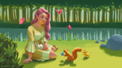 Size: 1920x1080 | Tagged: safe, artist:picklechippy, fluttershy, butterfly, human, mouse, rabbit, squirrel, animal, clothes, cute, dress, female, flower, forest, grass, humanized, lake, looking at something, outdoors, rock, shyabetes, sitting, solo
