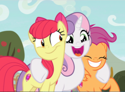 Size: 1200x887 | Tagged: safe, screencap, apple bloom, scootaloo, sweetie belle, earth pony, pegasus, pony, unicorn, growing up is hard to do, adorabloom, cropped, cute, cutealoo, cutie mark, cutie mark crusaders, diasweetes, excited, eyes closed, female, happy, hug, mare, older, older apple bloom, older cmc, older scootaloo, older sweetie belle, open mouth, smiling, the cmc's cutie marks, trio