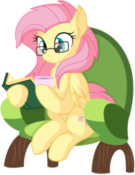 Size: 1398x1820   Tagged: safe, artist:cyanlightning, fluttershy, pegasus, pony, .svg available, absurd resolution, book, chair, chest fluff, clothes, cute, ear fluff, female, folded wings, glasses, mare, reading, shyabetes, simple background, sitting, solo, transparent background, vector, wings