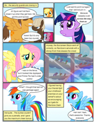 Size: 612x792 | Tagged: applejack, artist:newbiespud, background pony, background pony audience, cloud kicker, comic, comic:friendship is dragons, derpy hooves, dialogue, dumbbell, earth pony, edit, edited screencap, female, fluttershy, hoops, lightning bolt, looking up, male, mare, merry may, multeity, pegasus, pinkie pie, pony, rainbow dash, safe, screencap, screencap comic, spring melody, sprinkle medley, stallion, twilight sparkle, unicorn, unicorn twilight, white lightning, worried