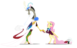 Size: 3416x2123 | Tagged: angel bunny, animal, annoyed, artist:grievousfan, bipedal, blushing, blush sticker, bouquet, bowtie, clothes, colored hooves, crossdressing, description at source, description in comments, digital art, discord, discoshy, draconequus, dress, eyes closed, female, floral head wreath, flower, fluttershy, fluttershy is not amused, frown, male, mare, pegasus, poison joke, pony, rabbit, ring, safe, she talks to angel, shipping, shrug, simple background, spoiler:s09e18, straight, transparent background, trio, tuxedo, unamused, wedding dress, wedding ring