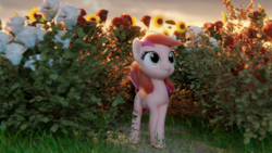 Size: 1920x1080 | Tagged: 3d, artist:gabe2252, blender, bush, earth pony, female, mare, outdoors, pony, roseluck, safe, smiling, solo