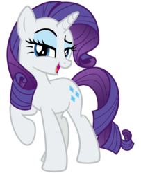 Size: 2600x3200 | Tagged: safe, artist:cheezedoodle96, rarity, pony, unicorn, .svg available, female, lidded eyes, looking at you, mare, open mouth, raised eyebrow, raised hoof, simple background, smiling, solo, svg, transparent background, vector