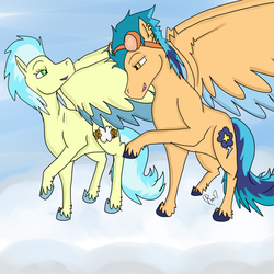 Size: 5000x5000 | Tagged: artist:saiyanxprincess, bedroom eyes, cloud, colored hooves, colored wings, colored wingtips, duo, ear piercing, earring, equestria girls ponified, female, goggles, indigo zap, jewelry, lesbian, looking at each other, mare, mistigo, misty fly, pegasus, piercing, ponified, pony, raised hoof, safe, shipping, signature, unshorn fetlocks