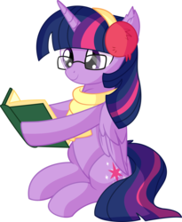 Size: 5738x7011 | Tagged: absurd res, alicorn, artist:cyanlightning, book, chest fluff, clothes, cute, ear fluff, female, folded wings, glasses, mare, pony, reading, safe, scarf, simple background, sitting, solo, .svg available, transparent background, twilight sparkle, twilight sparkle (alicorn), vector, wings
