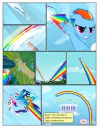 Size: 612x792 | Tagged: artist:newbiespud, clothes, cloud, cloudsdale, comic, comic:friendship is dragons, dialogue, edited screencap, falling, female, floppy ears, flying, goggles, grin, holding a pony, hooves, horn, implied pinkie pie, looking back, male, mare, misty fly, pegasus, ponies riding ponies, pony, rainbow, rarity, safe, screencap, screencap comic, smiling, soarin', sonic rainboom, sonic rainboom (episode), spitfire, stallion, unicorn, uniform, wings, wonderbolts, wonderbolts uniform